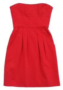 BCBGMAXAZRIA short dress Red Strapless Skater on Tradesy