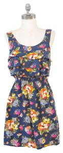 Xhilaration short dress Navy Floral Ruffle Summer on Tradesy