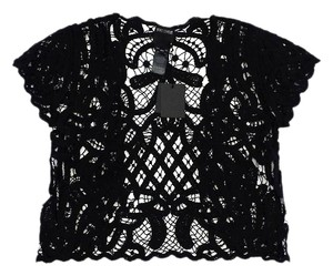 Anna Sui Black Crochet Short Sleeve Top