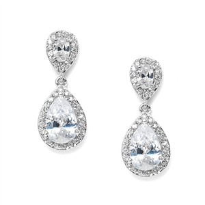 Mariell Ultra Glam Crystal Pear Drop Petite Bridal Earrings