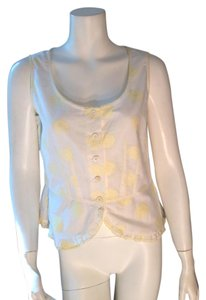 Ann Taylor Floral White Peasant Top Ivory, Yellow