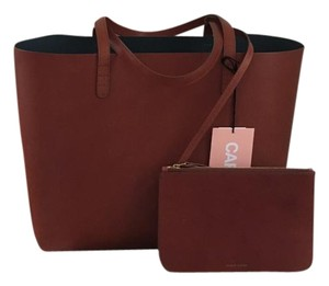 Mansur Gavriel Leather Shoulder Made In Italy Weekend Tote in Brandy/Avion