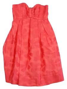 Jill Stuart short dress Bright Coral Bow Print Strapless on Tradesy