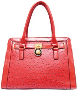 Vecceli Italy Glamorous Ostrich Faux Leather Satchel Handbag RED ...