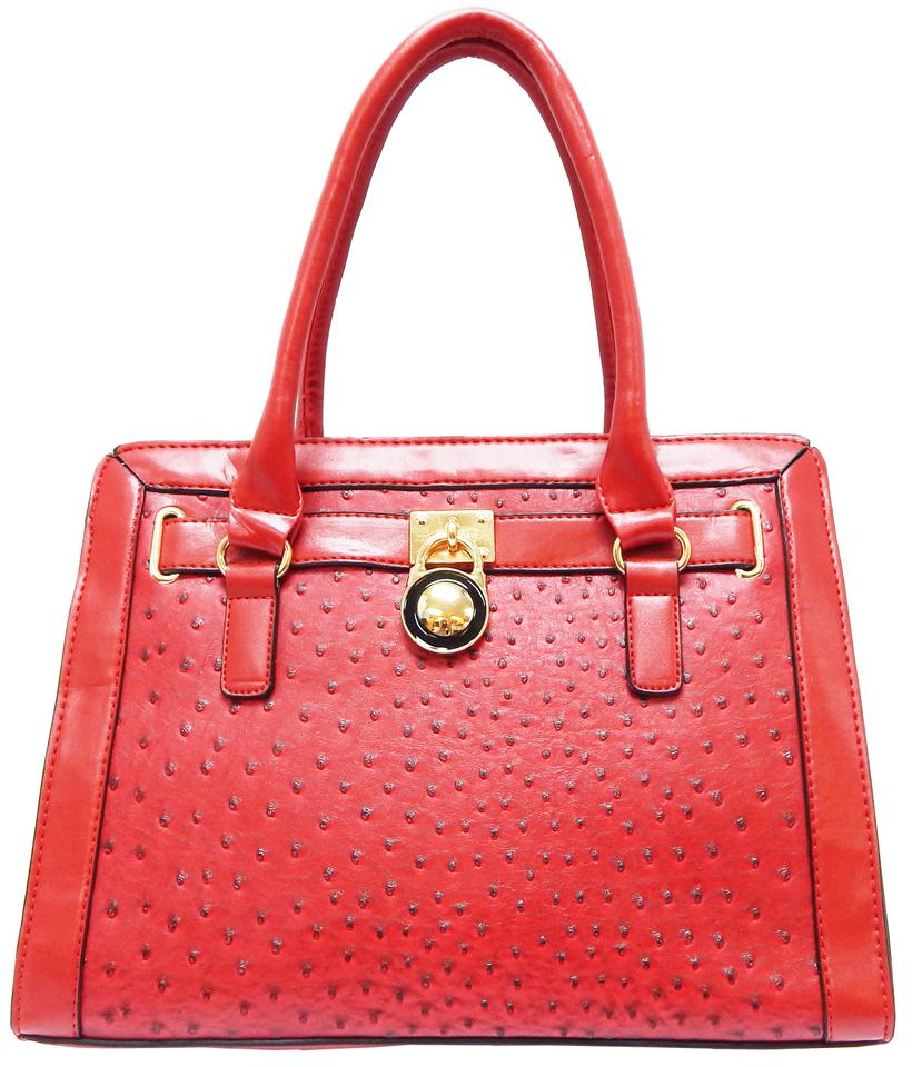 195d552fde1 Vecceli Italy Glamorous Ostrich Faux Leather Satchel Handbag RED .