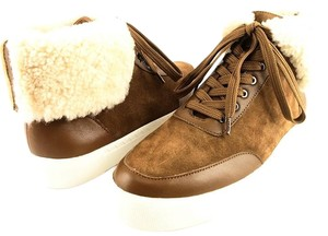 Via Spiga Maia Suede Sneakers Size 8 Shearling Rattan/ Brown Athletic