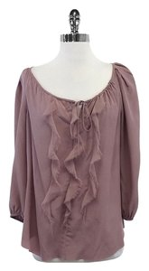 Rebecca Taylor Mauve Bishop Sleeve Frayed Silk Top
