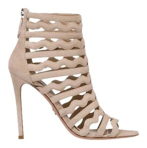 Prada Suede Stiletto Back-zip Logo Quarzo-Natural Pumps