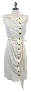 AllSaints White Sleeveless Eyelet Shirt Dress