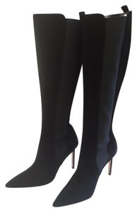 Manolo Blahnik Suede Stretch Knee Pointed black Boots