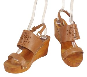 Tory Burch Studded Platform Leather Brown Sandals