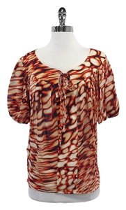 Escada Orange Tan Abstract Print Silk Top