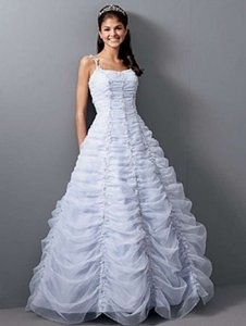 Alfred Angelo White/Lavender Organza 1652 Formal Wedding Dress Size 10 (M)
