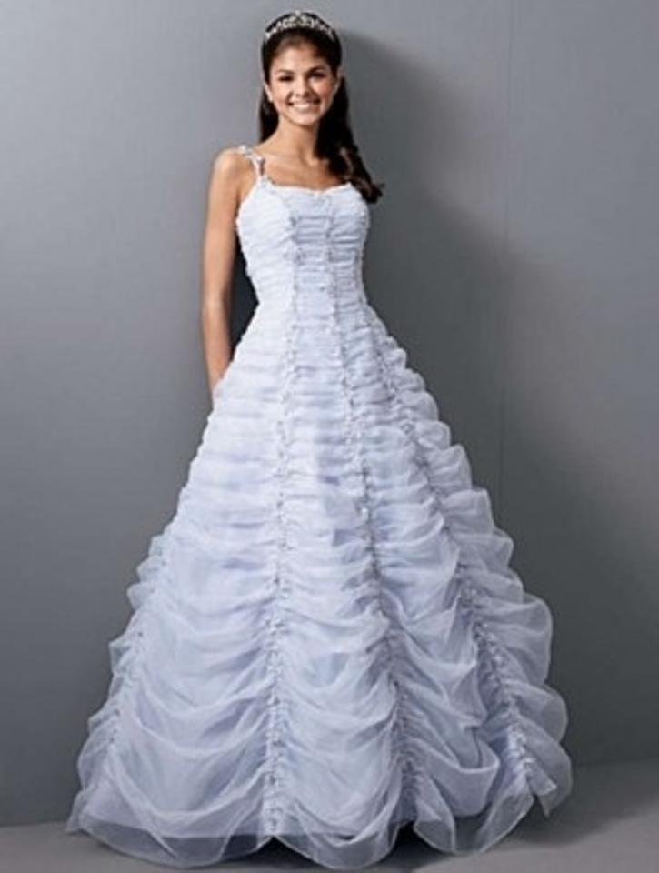 Alfred Angelo White/Lavender Organza 1652 Formal Wedding Dress Size ...