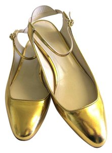 dd6662b81b Chloé Gold Adelin Metallic Leather Sling-back Ballerinas Flats Size US 8  Regular (M, B) 53% off retail