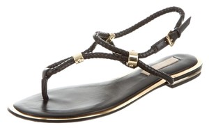 Michael Kors Leather Gold Hardware Woven Strappy Resort Black/Gold Sandals