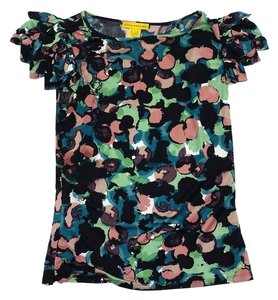 Catherine Malandrino Multi Color Print Silk Top