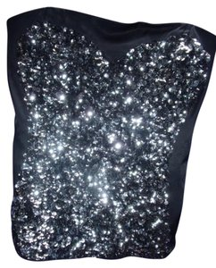 bebe Corset Boning Sequins Satin Top Silver & Black