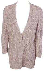 St. John Button Down Cable Knit Shimmer Cardigan Sweater