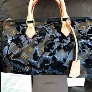 Louis Vuitton Monogram Fleur De Jais Canvas Limited Edition Satchel in Dark Brown/Black/ Dark Blue