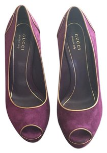 Gucci Purple & Gold Platforms