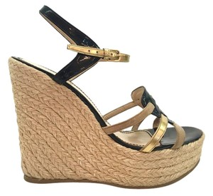 Saint Laurent Espadrille Black and Gold Wedges