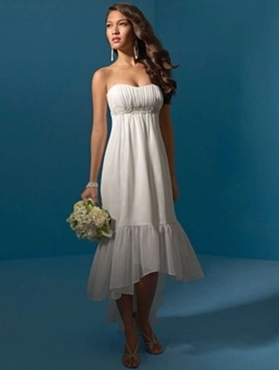 Alfred Angelo Ivory Chiffon 2042 Formal Wedding Dress Size 12 (L)