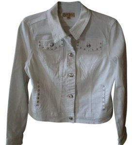 Earl Jean White Womens Jean Jacket