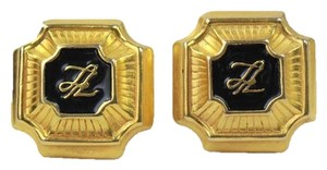 Karl Lagerfeld Black enamel signature Earrings Gold Tone