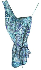 Classique Top Green and blue paisley