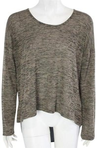Clothes Head High Low Long Sleeve Contrast Knit Scoop Neck Sweater