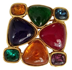 Chanel Chanel Vintage Gripoix Brooch Pin Multi Color Glass