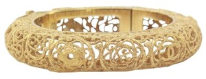 Chanel Byzantine Ornate Gold Tone Bangle Bracelet