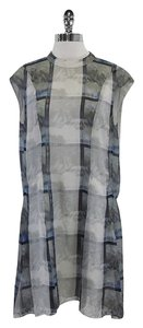 Theory short dress Grey Blue Digital Print Silk on Tradesy