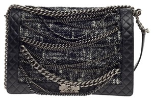 Chanel Tweed Satchel in Black