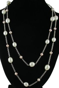 """Honora Honora White and Plum Pearl 36"""" Necklace"""