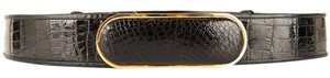 Judith Leiber Black Patent Crocodile Adjustable Belt
