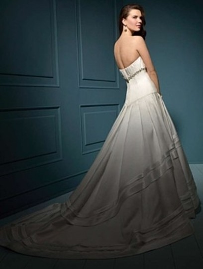 Alfred Angelo Ivory Satin 827 Formal Wedding Dress Size 4 (S)