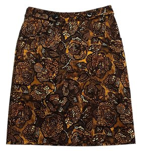 Etcetera Yellow Brown Print Skirt