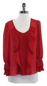 Nanette Lepore Red Silk Pleated Top