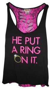 Spencer's Gifts LLC Racerback Lace Engagement Top Black and Hot Pink