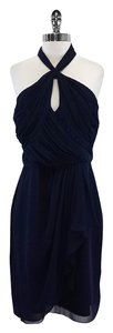 Badgley Mischka Navy Blue Silk Halter Dress