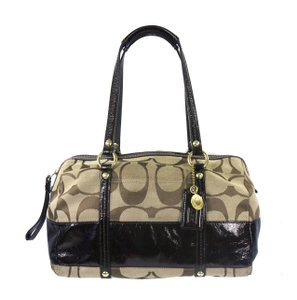 Coach Signature Jacquard Patent Leather Stripe Gold Hardware Satchel in Khaki/Brown