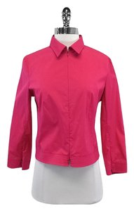 Equipment Fuchsia Cotton Zip Shirt Zip Sweatshirt