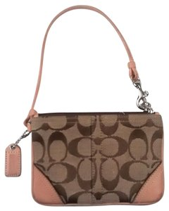 Coach Leather Signature Wristlet in Khaki And Camel