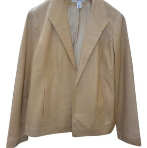 Genuine Leather Open Front Tan Blazer