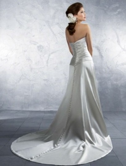 Alfred Angelo Ivory Satin 2164c Formal Wedding Dress Size 8 (M)