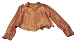 Kenneth Cole Button Down Shirt Rust with gold thread