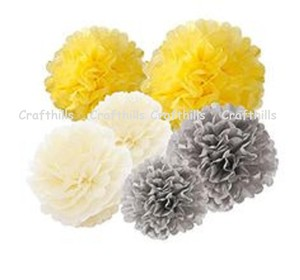 "Yellow Ivory Grey 15pcs - 4"" 8"" 12"" Mixed 3-sizes and Mixed Color Tissue Paper Pom-poms Pompom Flower Party Home Centerpiece"