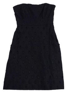Shoshanna short dress Black Eyelet Strapless on Tradesy